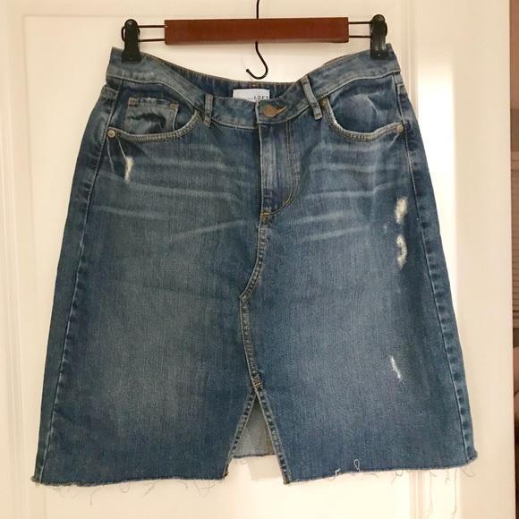 4477c00b79 LOFT Dresses & Skirts - LOFT Denim Skirt With Front Slit - Size 6